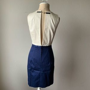 H&am Navy and Cream Dress with back detail NWT